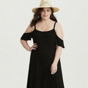 Torrid Black Cold-Shoulder Maxi Dress, 4